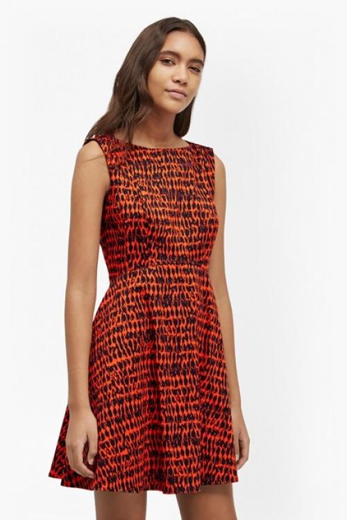 French Connection robe patineuse imprimé noire et orange