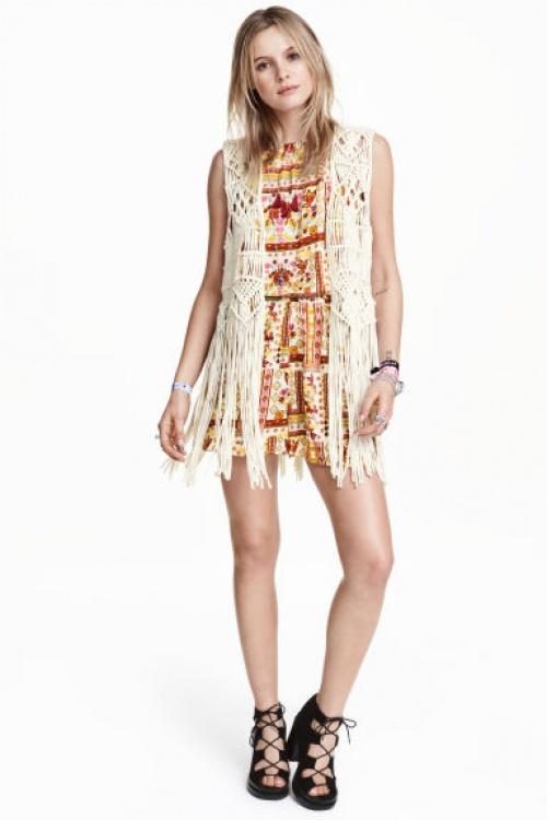 H&M veston crochet beige festival