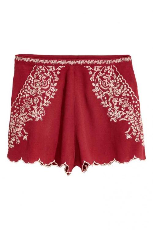 H&M - Short brodé rouge