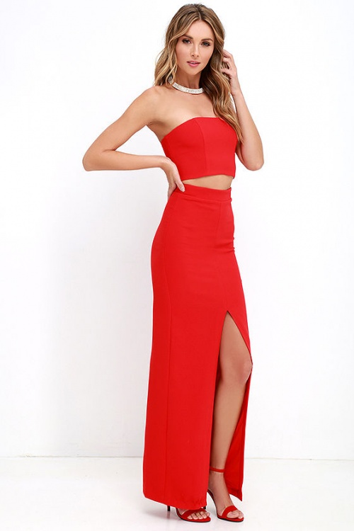 Lulus - Ensemble top et jupe longue rouge