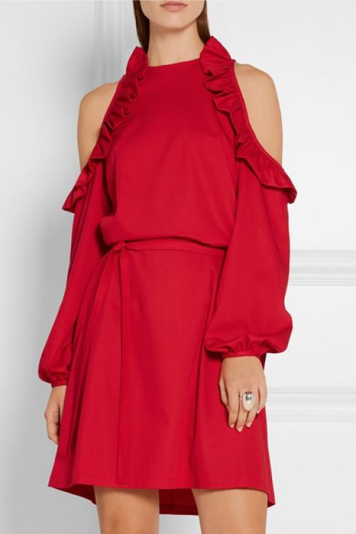 Paskal - Robe rouge épaule dévoilées volants