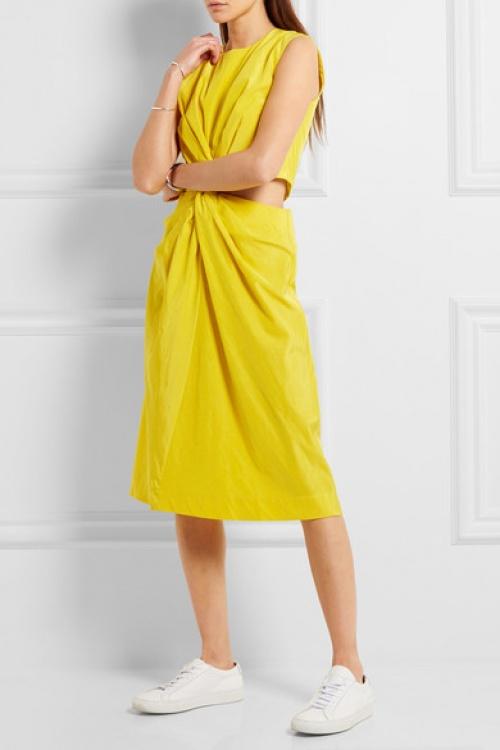 Jil Sanders robe jaune découpe taille asymétrique