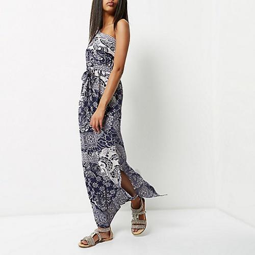 River Island  robe longue imprimé foulard asymétrique