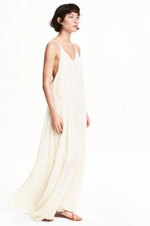 H&M robe longue plage beige