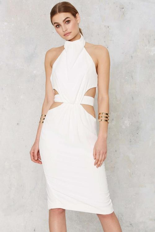 Nasty Gal cutout dress blanche