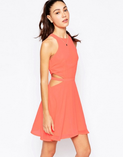 Daisy Street robe découpe taille corail