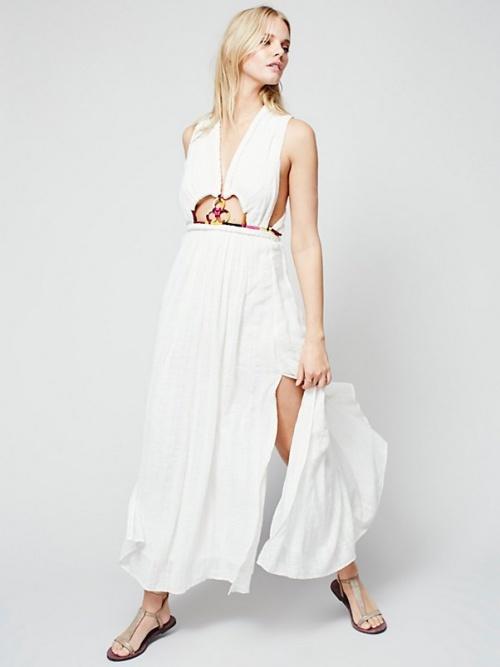 Free People robe longue blanche ajourée cordon