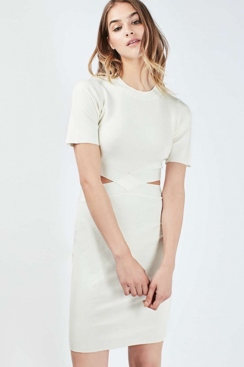 Topshop robe blanche fendue taille