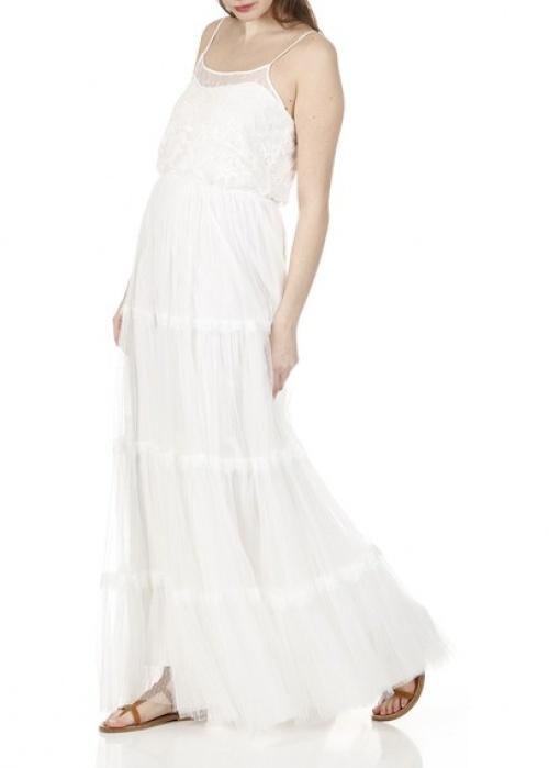 Naf Naf robe longue blanche dentelle