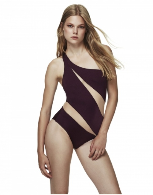 Moeva London - Maillot découpes diagonales bordeau
