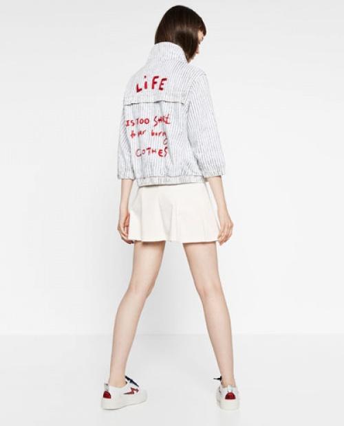 Zara - Blouson message dos life rouge