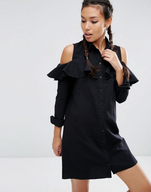 Asos - Robe noire épaules volantées