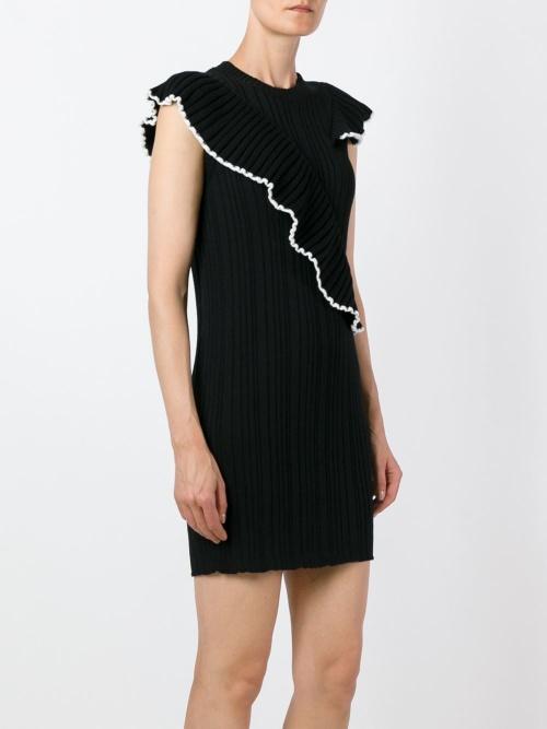 MSGM robe noire chevrons bord blanc