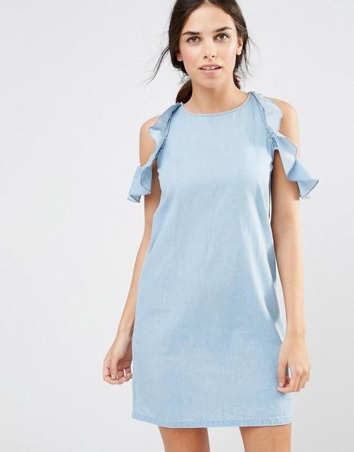 Daisy Street - Robe bleu clair épaules nues volantées