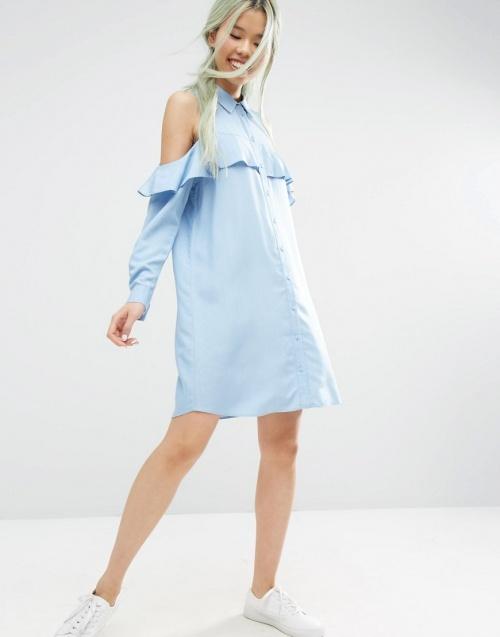 Asos - Robe denim bleu épaules nues