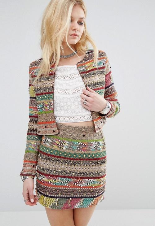 Glamorous - Veste  ethnique colorée brodée