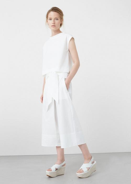 Mango - Pantalon en popeline blanc