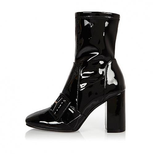 River Island - Boots sangles noires vernis