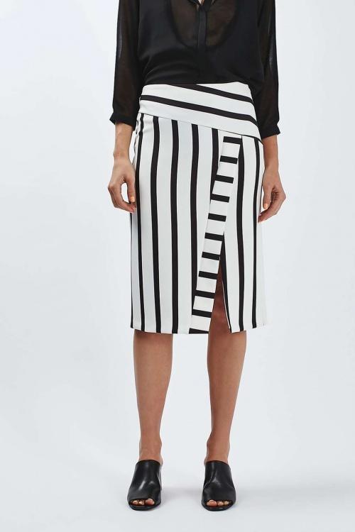 Topshop - Jupe fendue rayé black & white