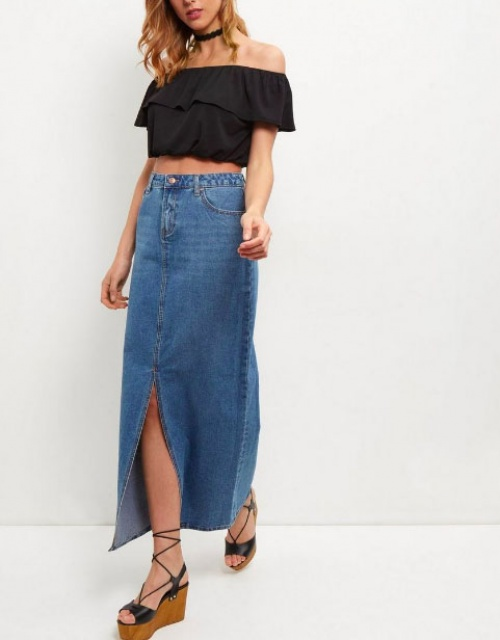 New Look - Jupe midi fendue en jean