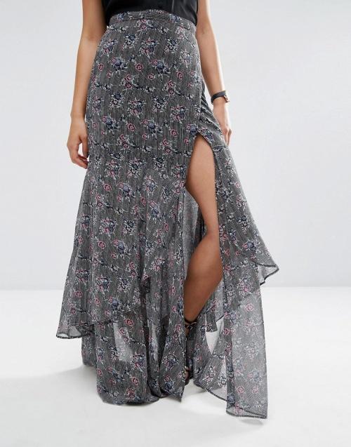 Asos - Maxi jupe fleuris volants