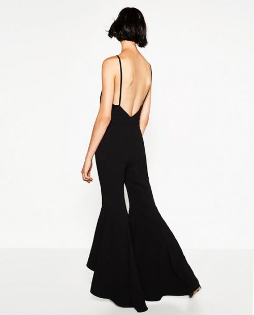 Zara combinaison pantalon évasé noire