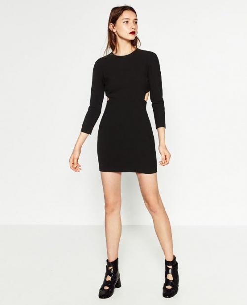 Zara robe noire ajourée taille