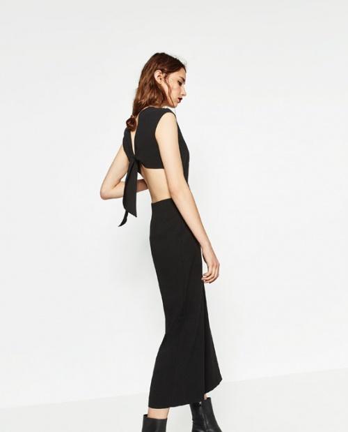 Zara  combinaison courte dos ahouré noeud