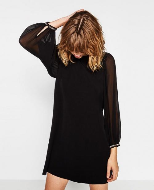 Zara robe noire tulle manches