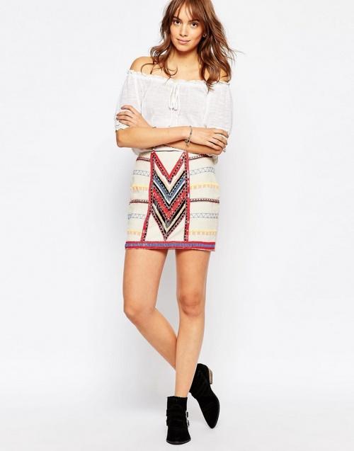 Pepe Jeans mini jupe brodée ethnique
