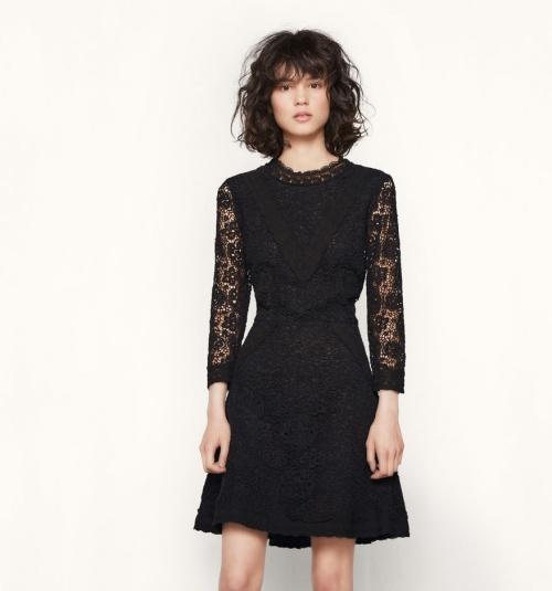 Maje robe noire dentelle