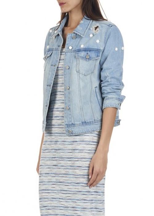 Mo&Co veste jean brodée perle bleu