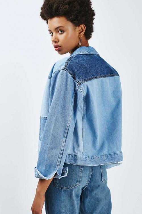 Topshop  veste jean patch couleur