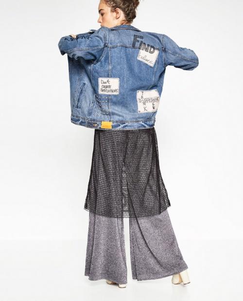 Zara veste jean à écusson