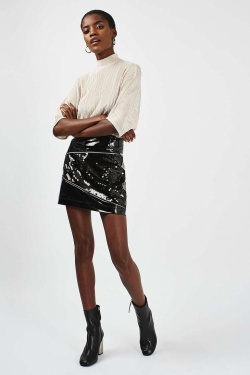 Topshop mini jupe cuir et sequins