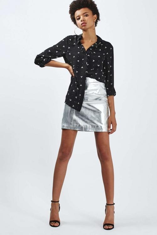 Topshop jupe métallisée argentée