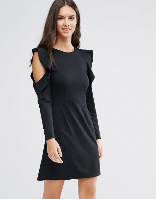Asos robe noire courte ajourée épaules