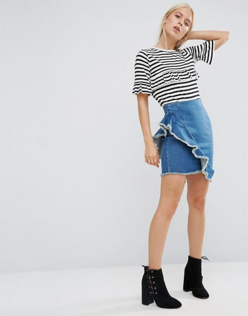 Asos denim volants asymétrique