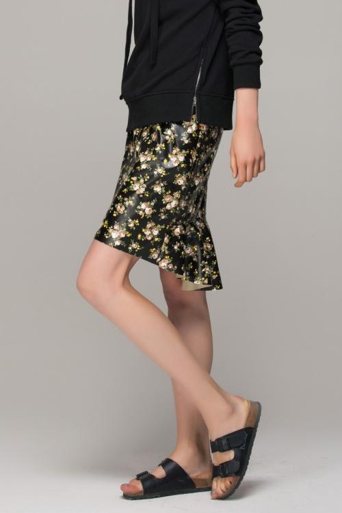 Front Row Shop - Jupe cuir imprimé floral