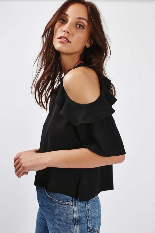 Topshop - T-shirt noir volant épaules