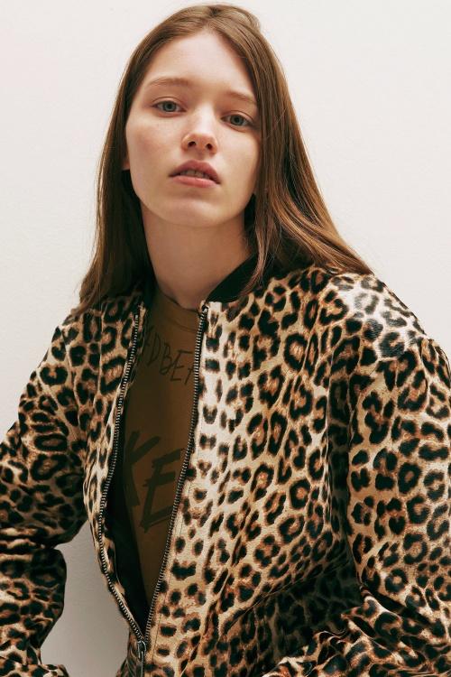 Filles à Papa - Bomber cuir imprimé léopard