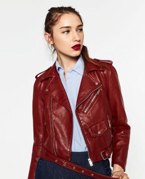 Zara blouson cuir rouge vinyle