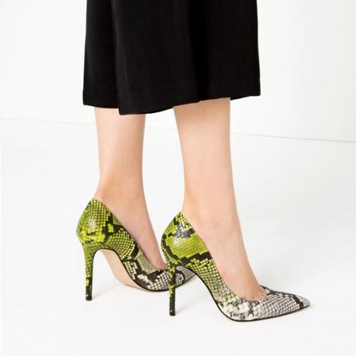 Zara - Escarpins  python vert