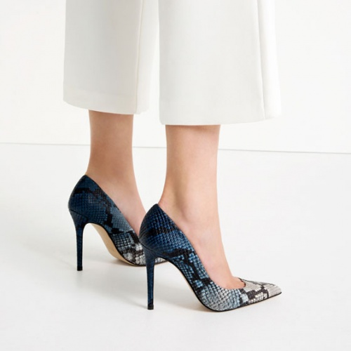 Zara - Escarpins  python bleu dégradé