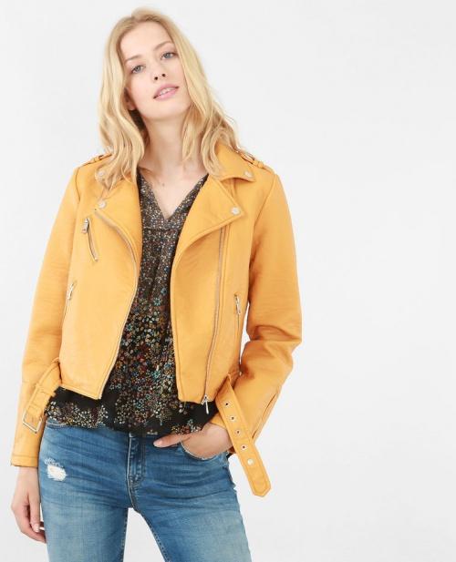 Pimki  veste perfecto cuir jaune