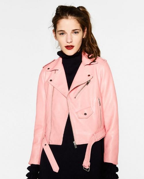 Zara veste perfecto cuir rose pâle
