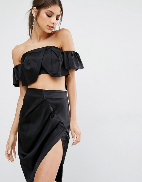 Kendall + Kylie top bandeau satin