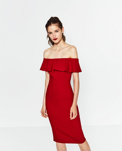 Zara  robe rouge bardot