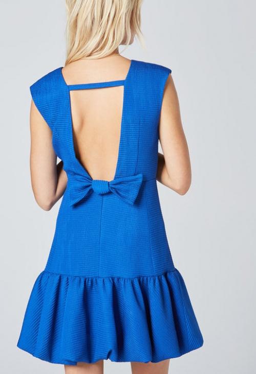 Maje robe bleu dos noeud