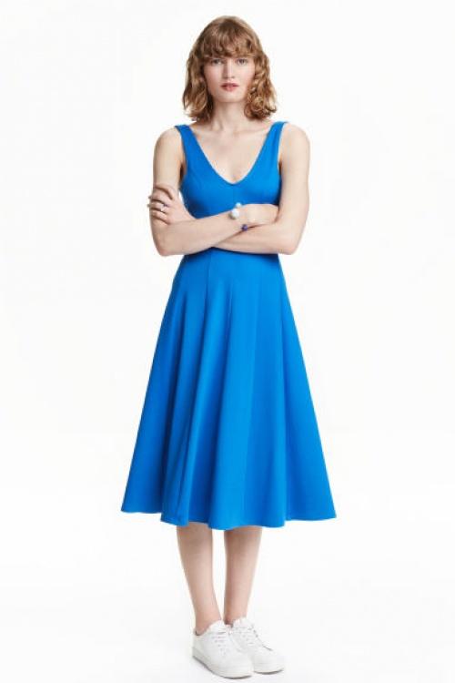 H&M robe bleu midi
